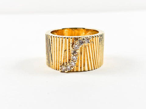 Modern Unique Textured Eternity Small CZ Yellow Gold Brass Ring