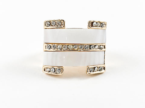 Modern Multi Row White Enamel With Crystals Square Brass Ring