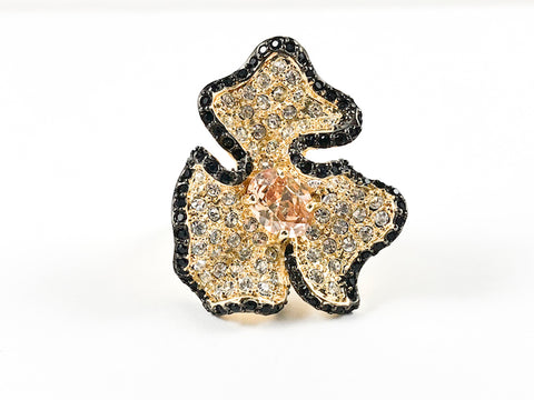 Modern Large Floral Design Black & Clear Crystal Gold Tone Brass Ring