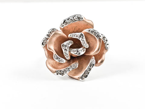 Modern Unique Detailed Rose Gold Tone Rose Petal With CZ Design Brass Ring