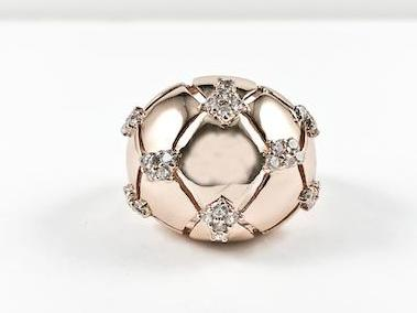 Modern Large Dome With X Accents CZ Design Brass Ring