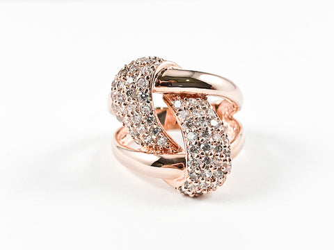 Modern Elegant Open Works Knot Design Rose Gold Tone Brass Ring