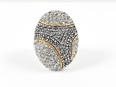 Modern Unique Egg Shape With Crystals Textured Beads Two Tone Brass Ring
