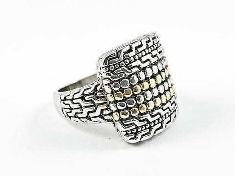 Modern Elegant Textured Bead Square Shape 2 Tone Brass Ring