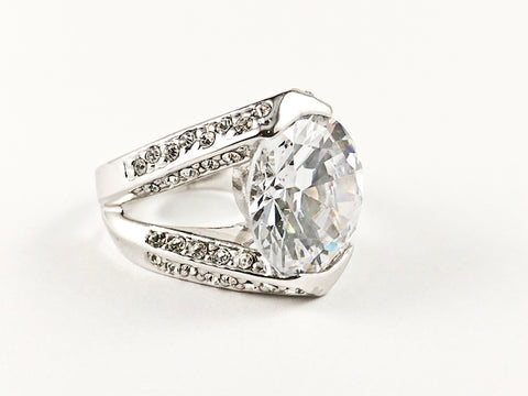 Classic Prong Style Round Center Clear CZ Brass Ring
