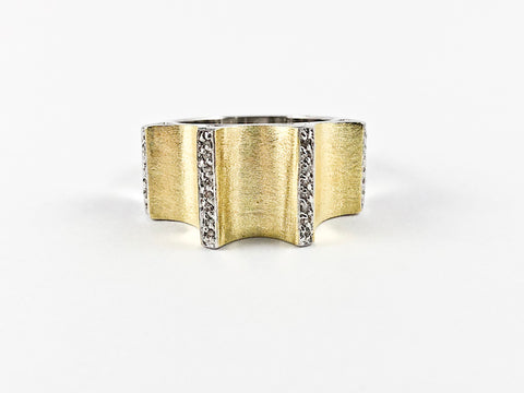 Unique Textured Matte Finish Gold Tone Brass Ring
