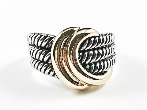 Modern Wire Textured Shiny Metallic Two Tone Style Brass Ring