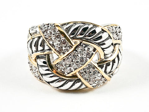 Unique Modern Crossover Twist Textured Design Pattern CZ 2 Tone Brass Ring