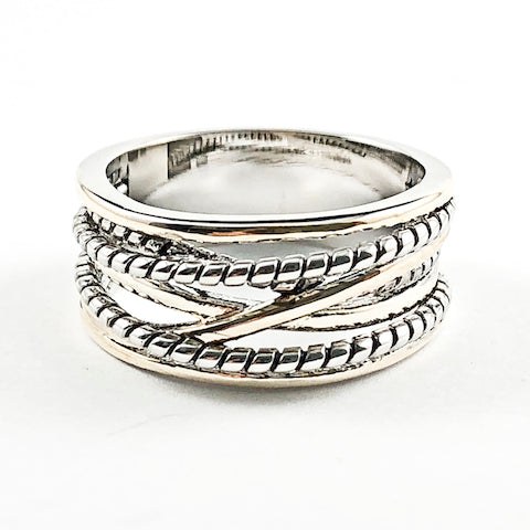 Beautiful Cross Over Wire Textured Two Tone Design Brass Ring