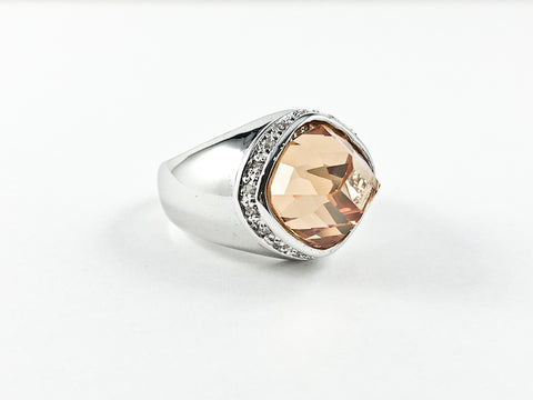 Unique Diamond Cut Topaz Color Center CZ Brass Ring