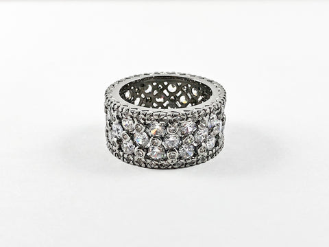 Fine Multi Row CZ Eternity Wide Band Brass Ring