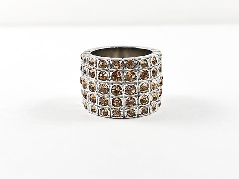 Classic 5 Row Smoky Topaz Color CZ Wide Half Band Brass Ring