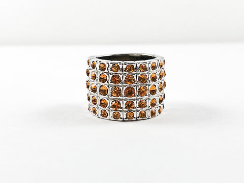 Classic 5 Row Topaz Color CZ Wide Half Band Brass Ring