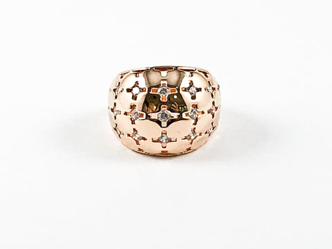 Unique Dome Shape Pattern Tiny CZ Pink Gold Tone Brass Ring