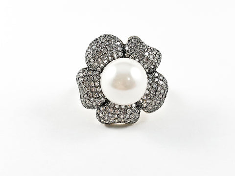 Beautiful Fancy Flower Design With Elegant CZ & Center Pearl Brass Ring