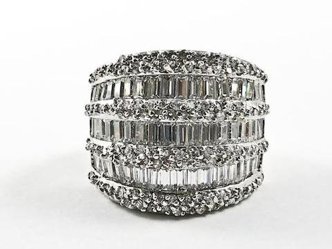 Elegant Multi Level Row Baguette & Fine CZ Setting Statement Brass Ring
