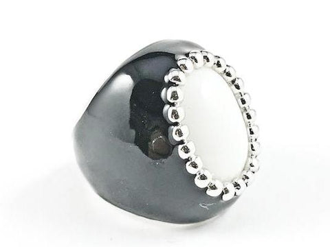 Casual Unique White Oval Stone with Black Enamel Brass Ring