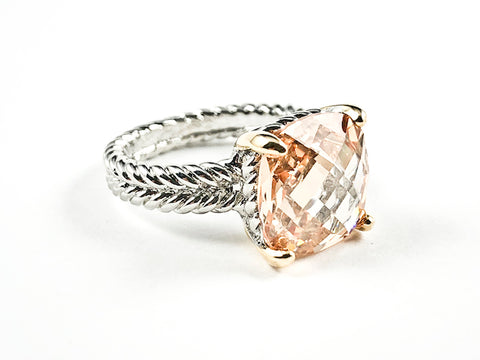 Beautiful Wire Texture Band With Center Square Shape Champagne CZ Brass Ring
