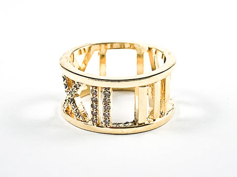 Elegant Open Roman Numeral Design Gold Tone Brass Band Ring