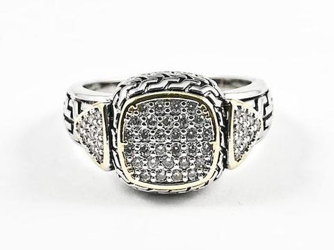 Modern Textured Square Shape 2 Tone Style Micro Pave Center Brass Ring