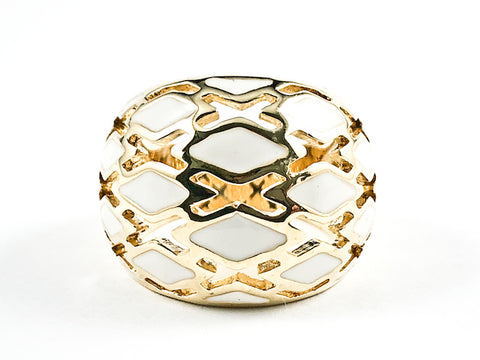 Beautiful Dome Shape White Enamel Open Cage Pattern Gold Tone Brass Ring