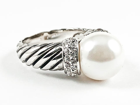 Nice Beautiful Textured Center Pearl With CZ Brass Ring