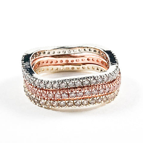 Unique Tri Color Tone 3 Piece Set Wavy Shape Brass Ring