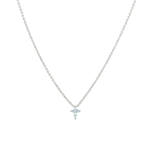 Cute Dainty Mini Elegant Cross CZ Adjustable Brass Necklace
