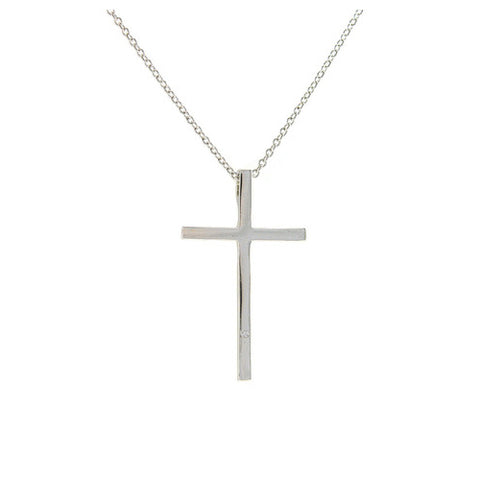 Classic High Polished Metallic Cross Brass Necklace