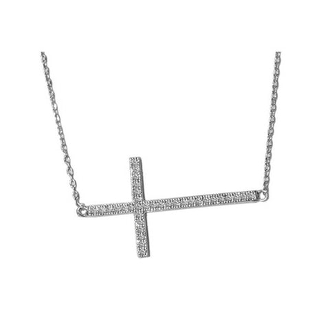 Classic Cross On Side With CZ Design Brass Necklace