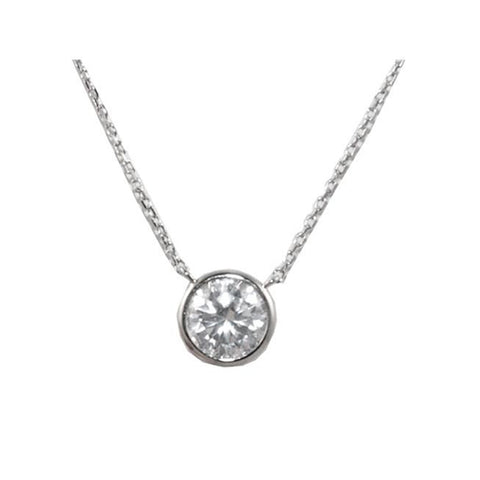 Classic Single Round Cut Bezel Setting 10mm Brass Necklace