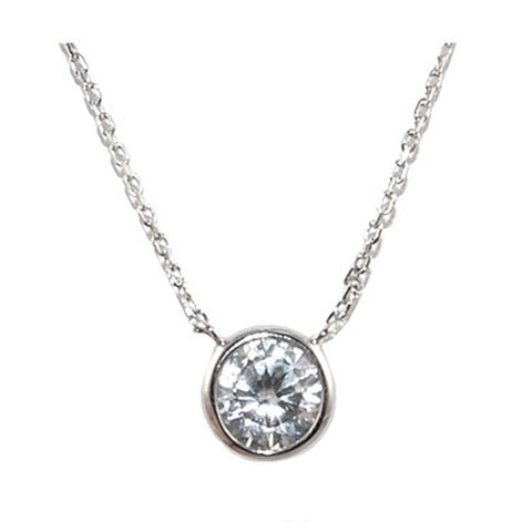 Classic Single Round Cut Bezel Setting 8mm Brass Necklace