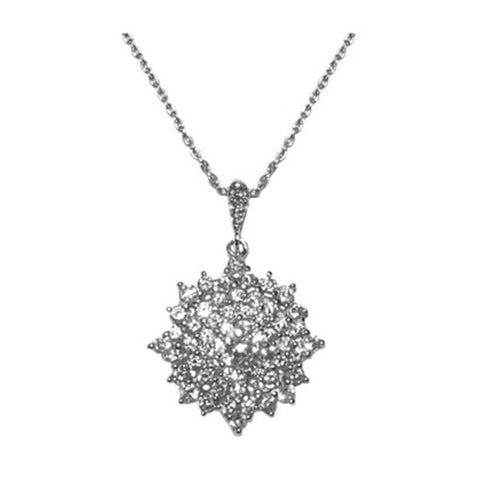 Classic Fine Snowflake Pave Style CZ Brass Necklace