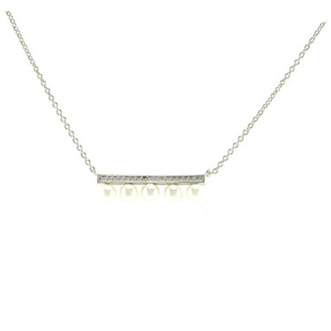 Classic Bar With 5 Piece Pearl Design Brass Necklace