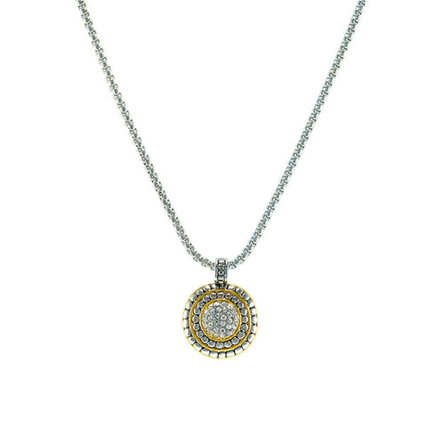 Modern Round Shape With CZ Two Tone Design Brass Necklace