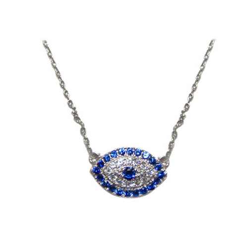 Classic Evil Eye Sapphire & Clear CZ Brass Necklace