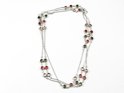 Modern Layered High Quality Colorful Bezel CZ Long Brass Necklace