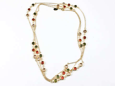 Modern Layered High Quality Colorful Bezel CZ Gold Tone Long Brass Necklace