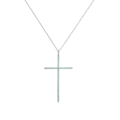 Classic Large Cross With CZs Brass Necklace