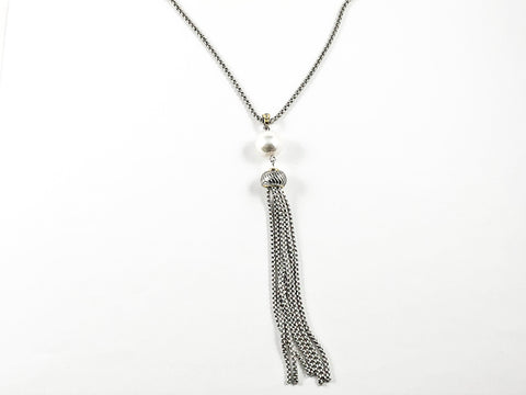 Elegant Long Necklace Design With Center Pearl & Tassel Brass Necklace