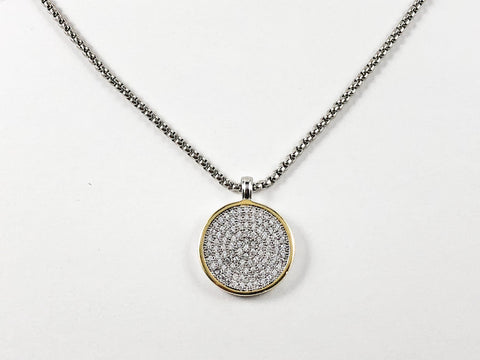 Elegant Micro Setting CZ Round Disc With Popcorn Chain Brass Necklace