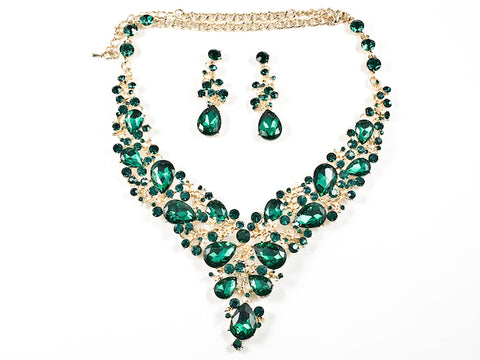 Fancy Elegant Large Green Crystal Floral Pattern Gold Tone Necklace Earring Fashion Set