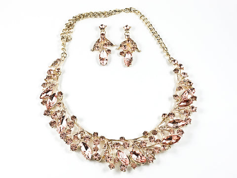 Fancy Elegant Pink Crystal Wide Floral Pattern Necklace Earring Fashion Set