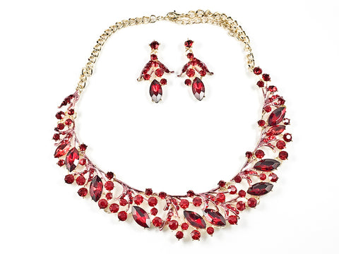 Fancy Elegant Red Crystal Wide Floral Pattern Necklace Earring Fashion Set
