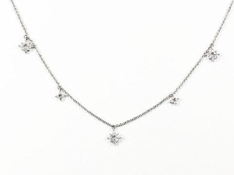 Cute Dainty Delicate Star CZ Design Multi Charm Brass Necklace