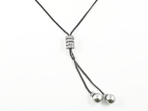 Fun Long Lariat Style Pearl Ends Black Rhodium Tone Fashion Necklace
