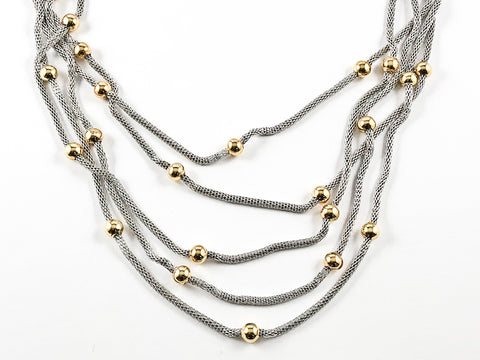 2d2e4a69d78fb Modern Multi Strand Cable Wire Texture Style With Multiple Gold Ball Charms  Brass Necklace