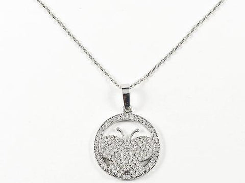 Fine Cute Butterfly With Round Fram Pave CZ Brass Necklace