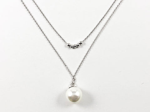 Beautiful Double Layered Tiny Silver Ball Beads & Pearl Dangle Brass Necklace