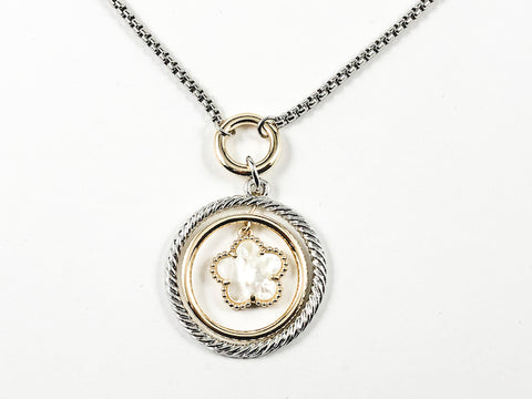 Modern Textured & Layered Round Charm With Center Flower Charm 2 Tone Brass Necklace